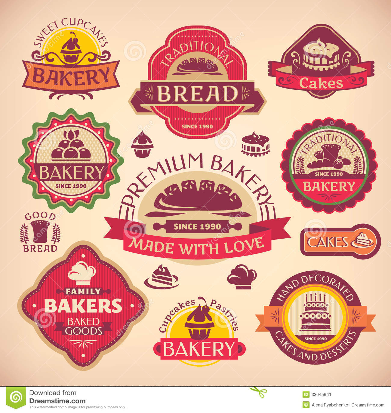 Set Of Vintage Bakery Labels Stock Image - Image: 33045641
