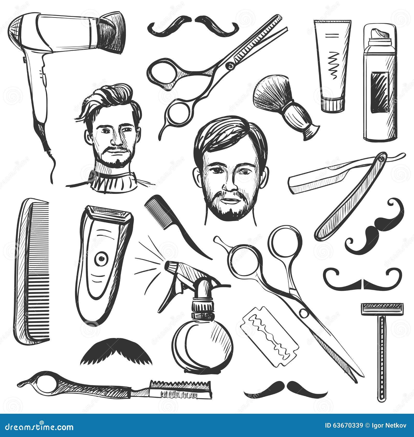 set of vintage barber shop elements stock vector image 63670339. Black Bedroom Furniture Sets. Home Design Ideas