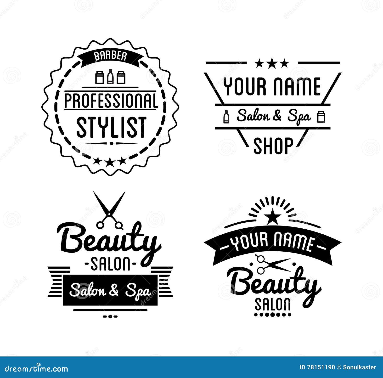 Set Of Vintage Barber Shop Logo And Beauty Spa Salon Badges