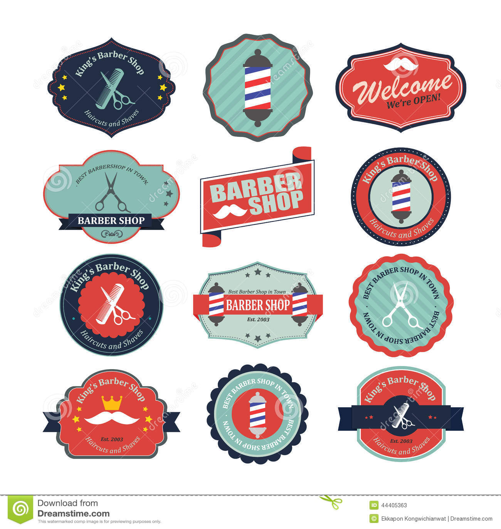 Clip art vector of vintage barber shop logo graphics and icon vector - Royalty Free Vector Barber Set Shop Vintage