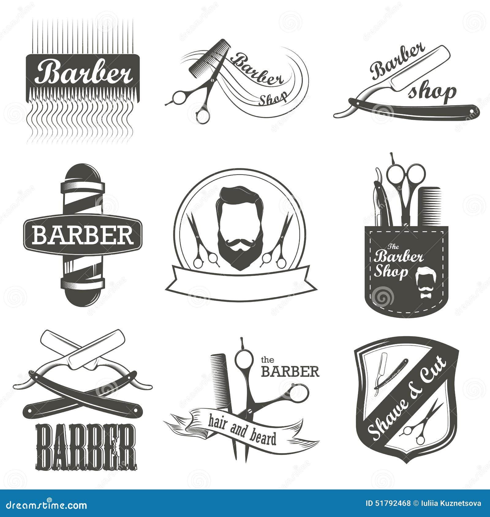 set of vintage barber shop logo  labels  badges stock barber shop clipart barber shop clip art color