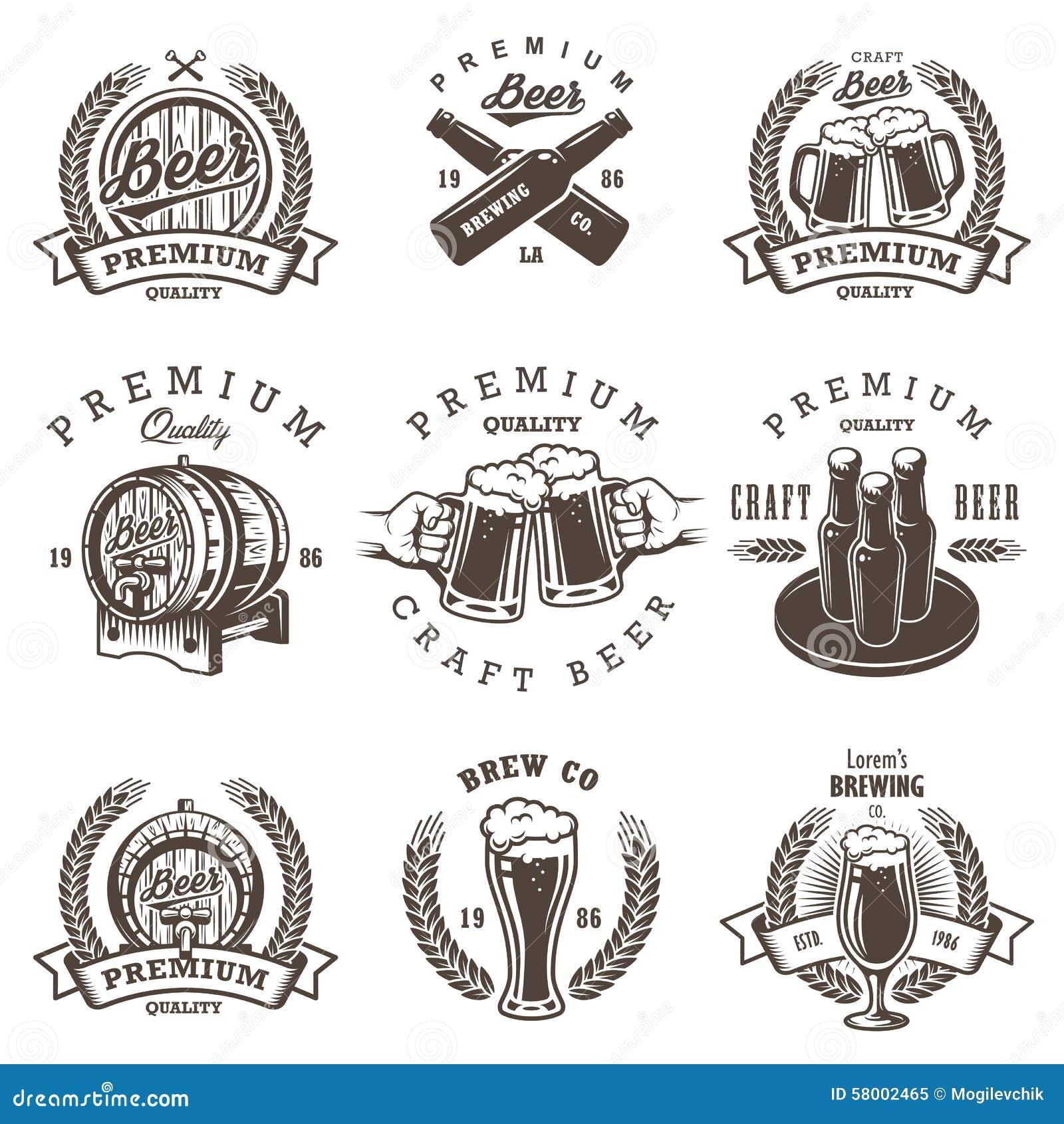 Set of vintage beer brewery emblems