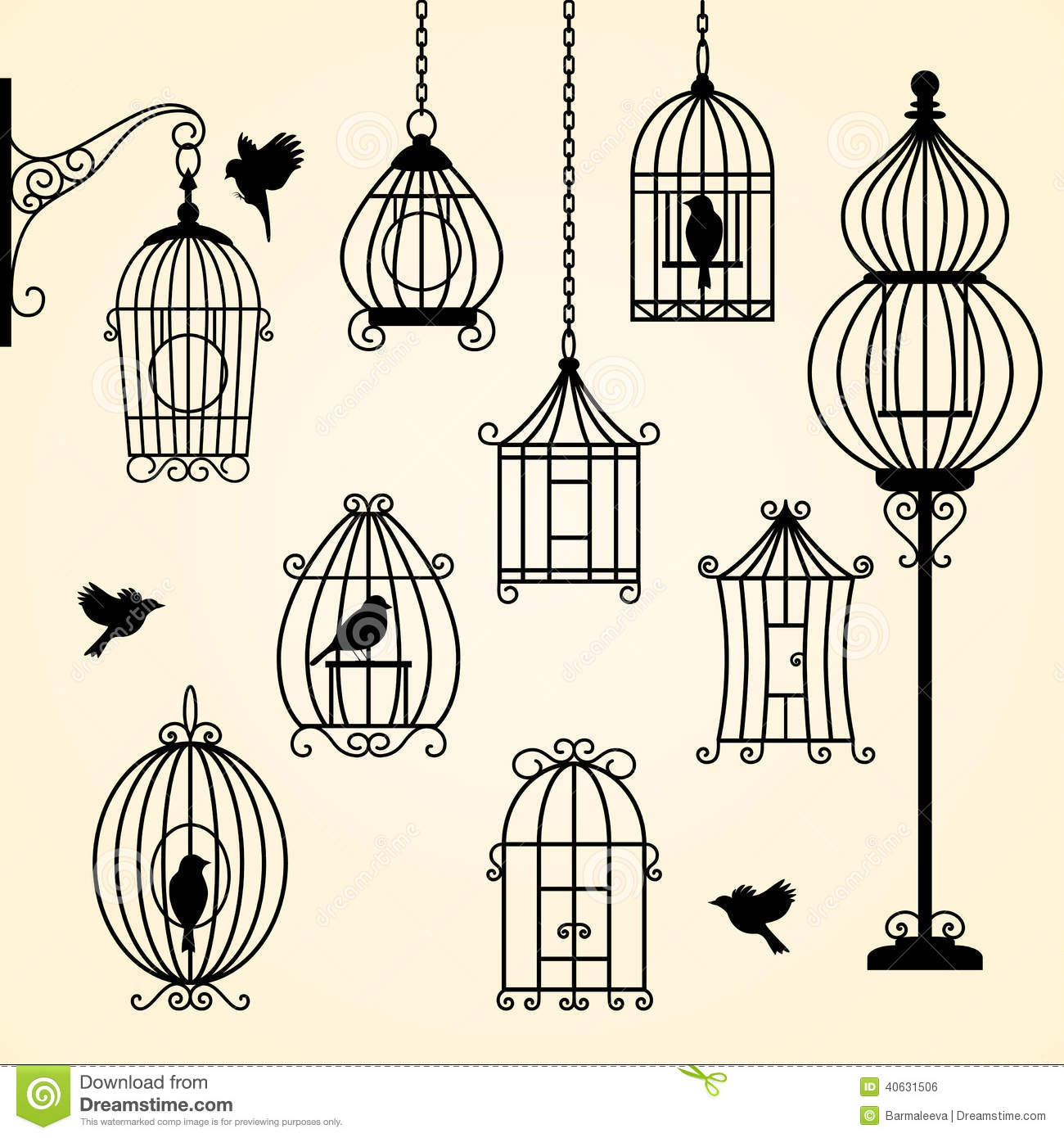 set of vintage bird cages stock vector illustration of retro 40631506