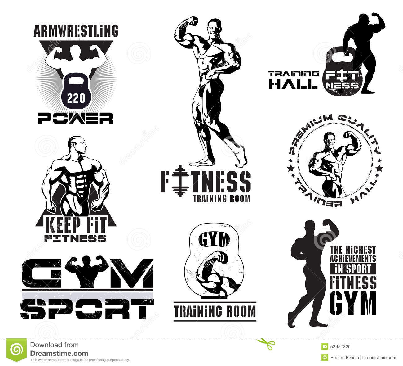 Set of vintage bodybuilding and fitness room logos design for Gym layout design software free