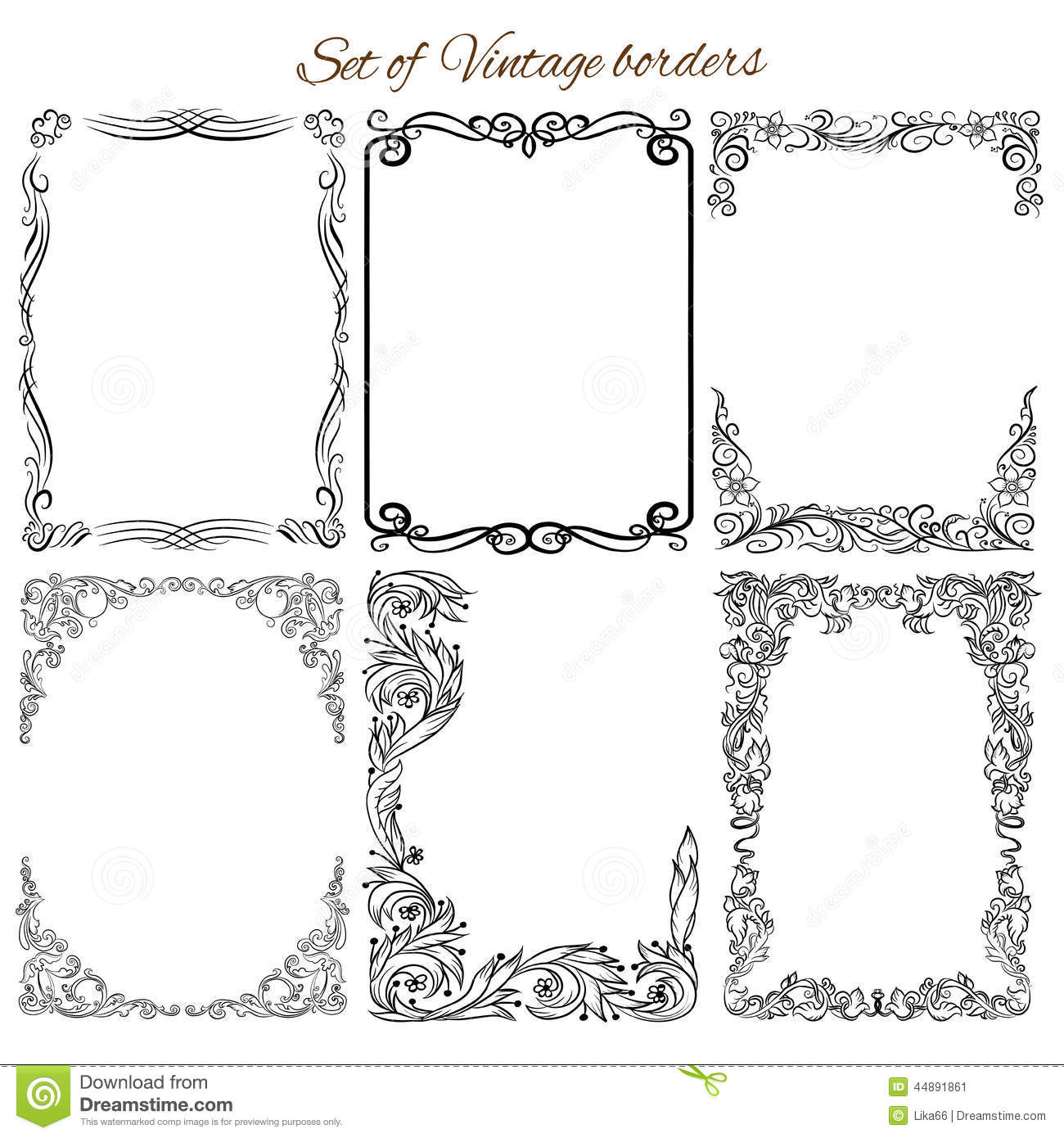 set of vintage decorative borders and frames stock vector