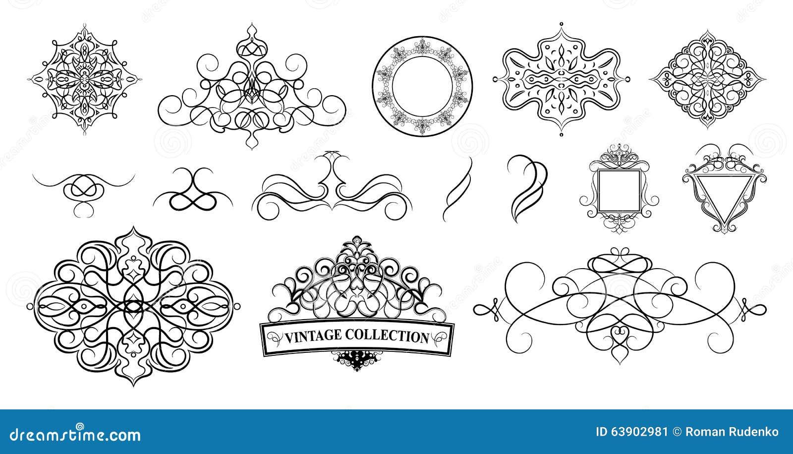 Vintage set decor elements decoration for logo wedding album o set vintage borders frame and rosette decoration for logo we stock image junglespirit Gallery