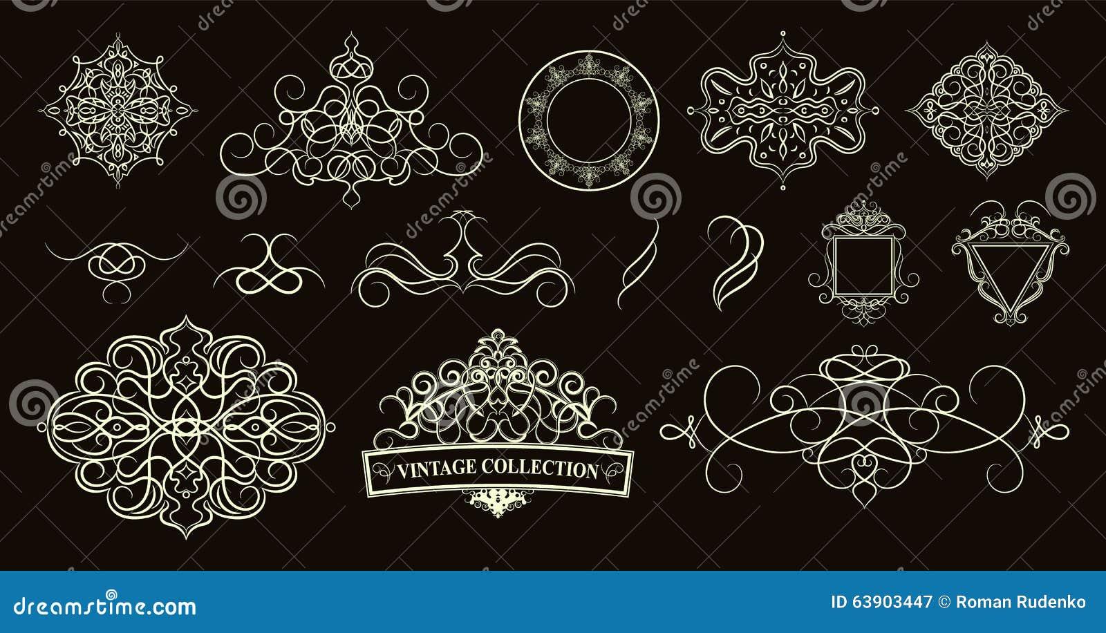 Set vintage borders frame and rosette decoration for logo we download comp junglespirit Gallery