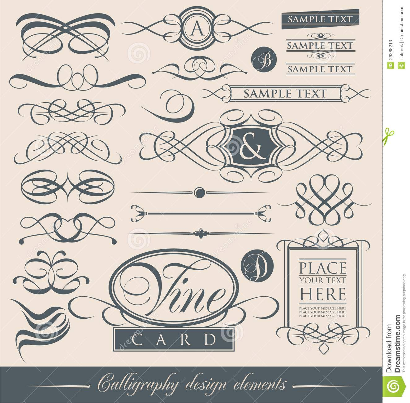 Set Of Vintage Calligraphic Design Elements And Vector Page