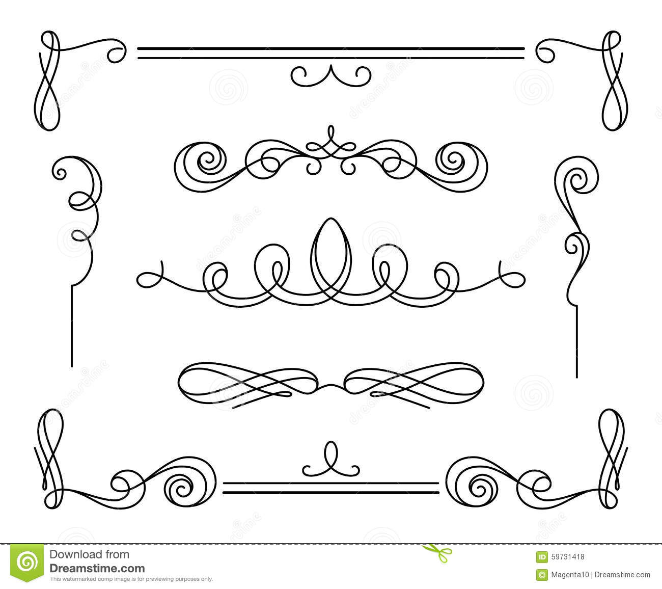 Set Of Vintage Calligraphic Vignettes And Dividers Stock ...