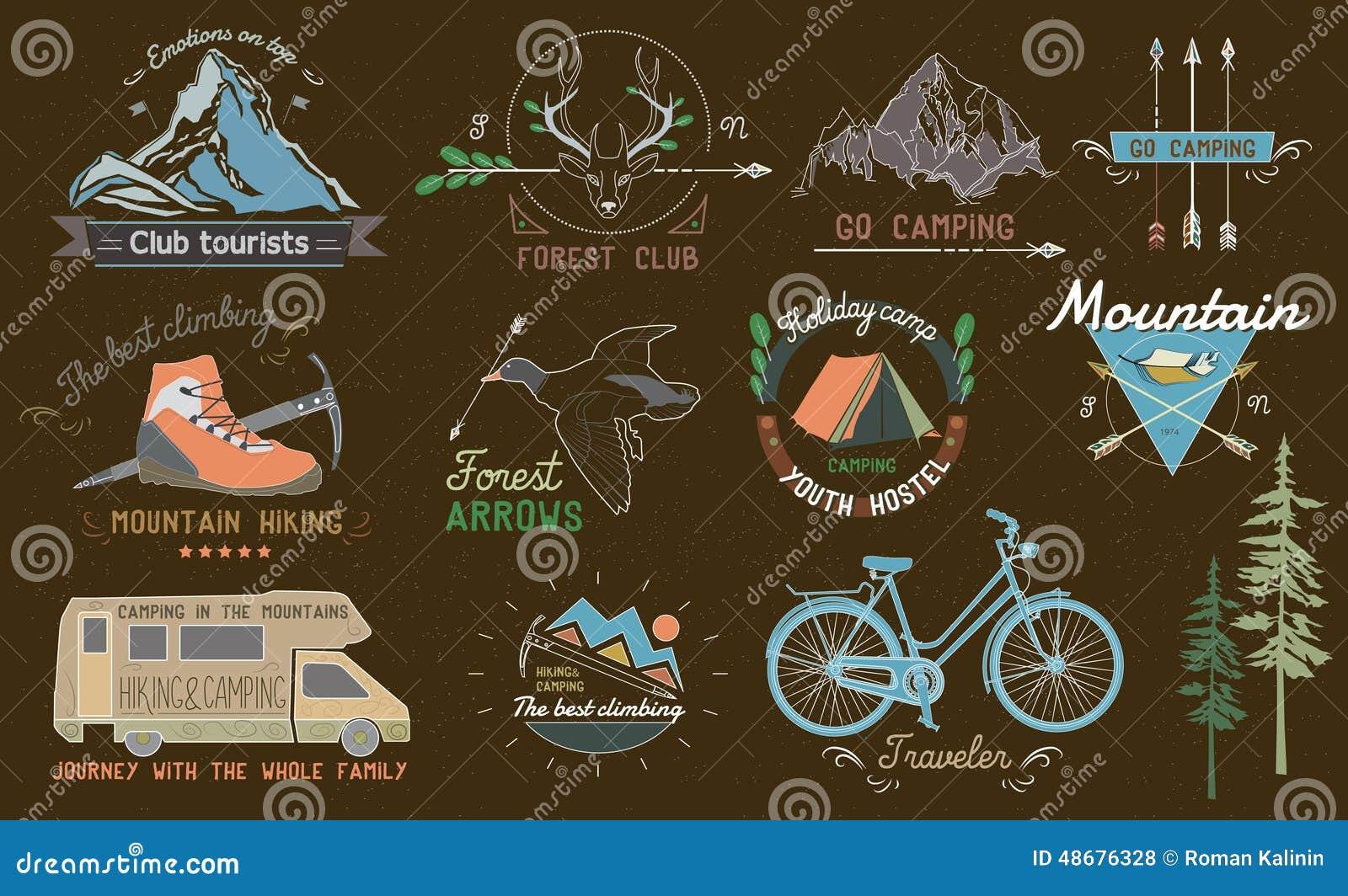 Set of vintage camping labels, logos, emblems and designed elements.