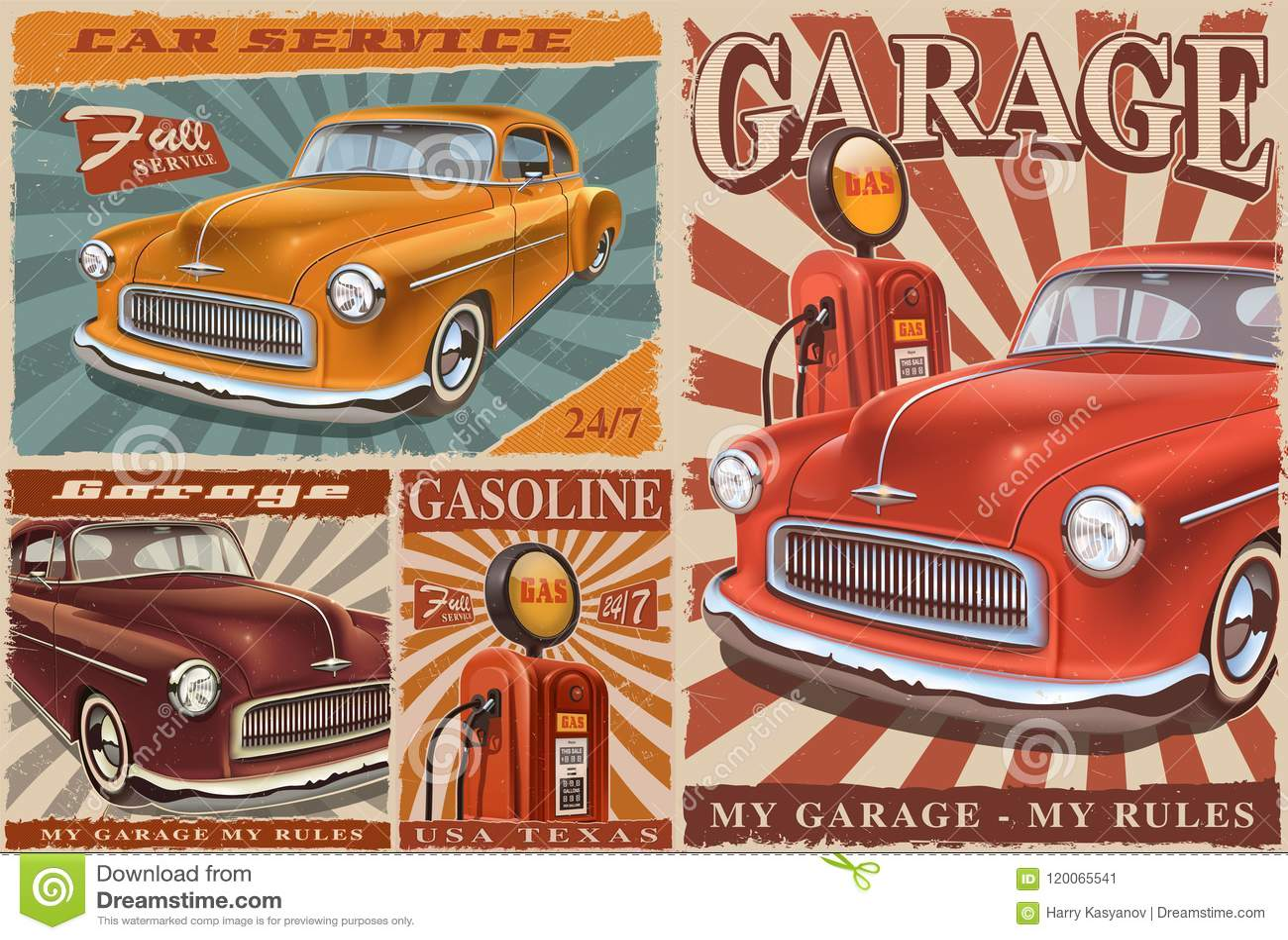 Set Of Vintage Car Posters Stock Vector Illustration Of Mechanic