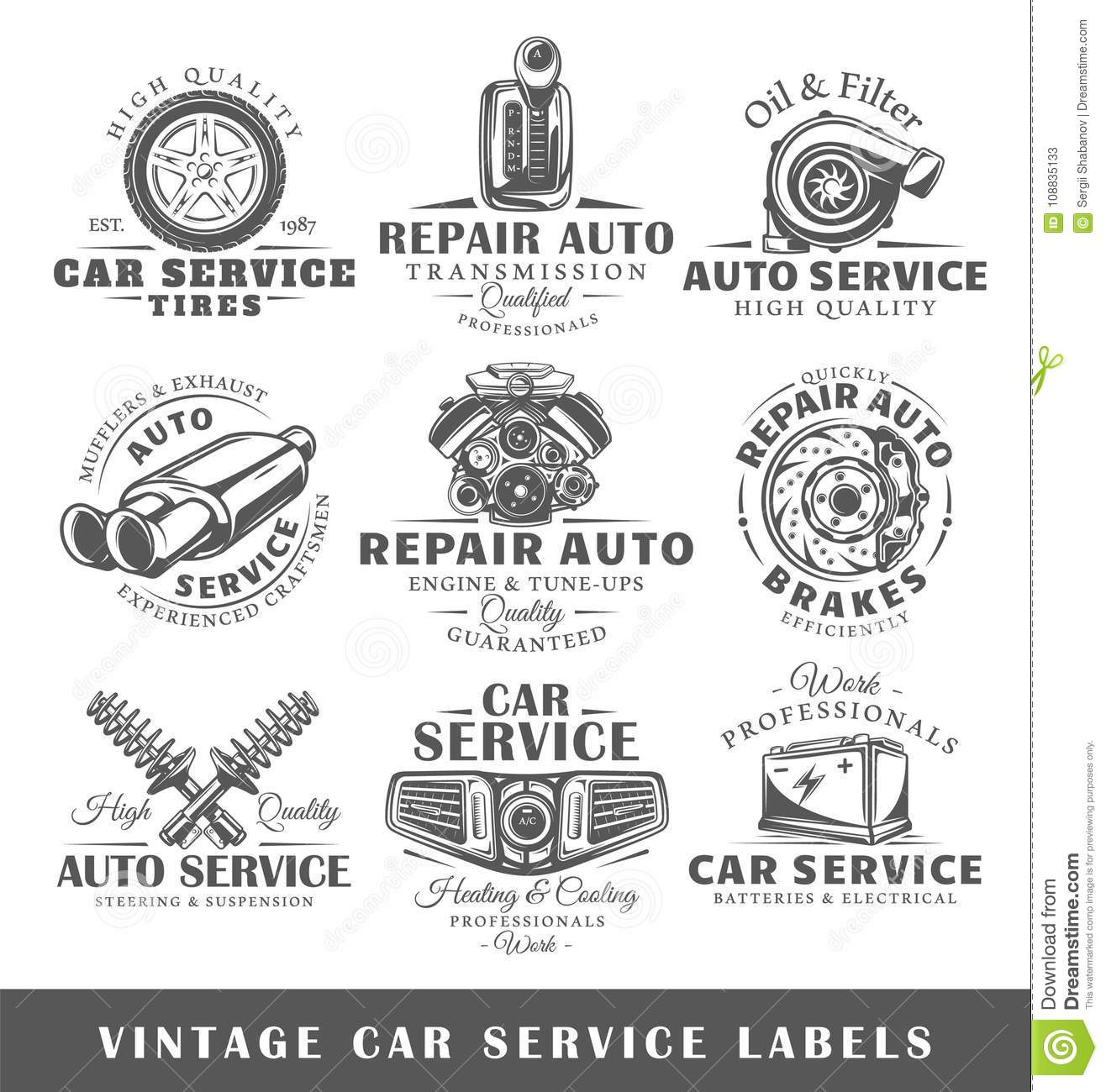 Set Of Vintage Car Service Labels Stock Vector - Illustration of ...