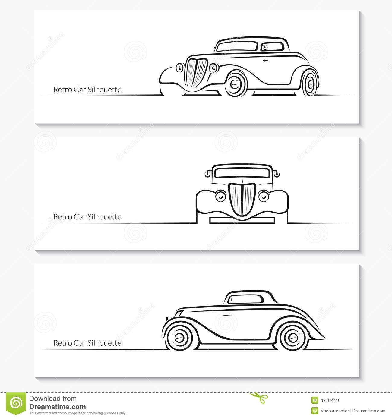set of vintage car silhouettes stock vector