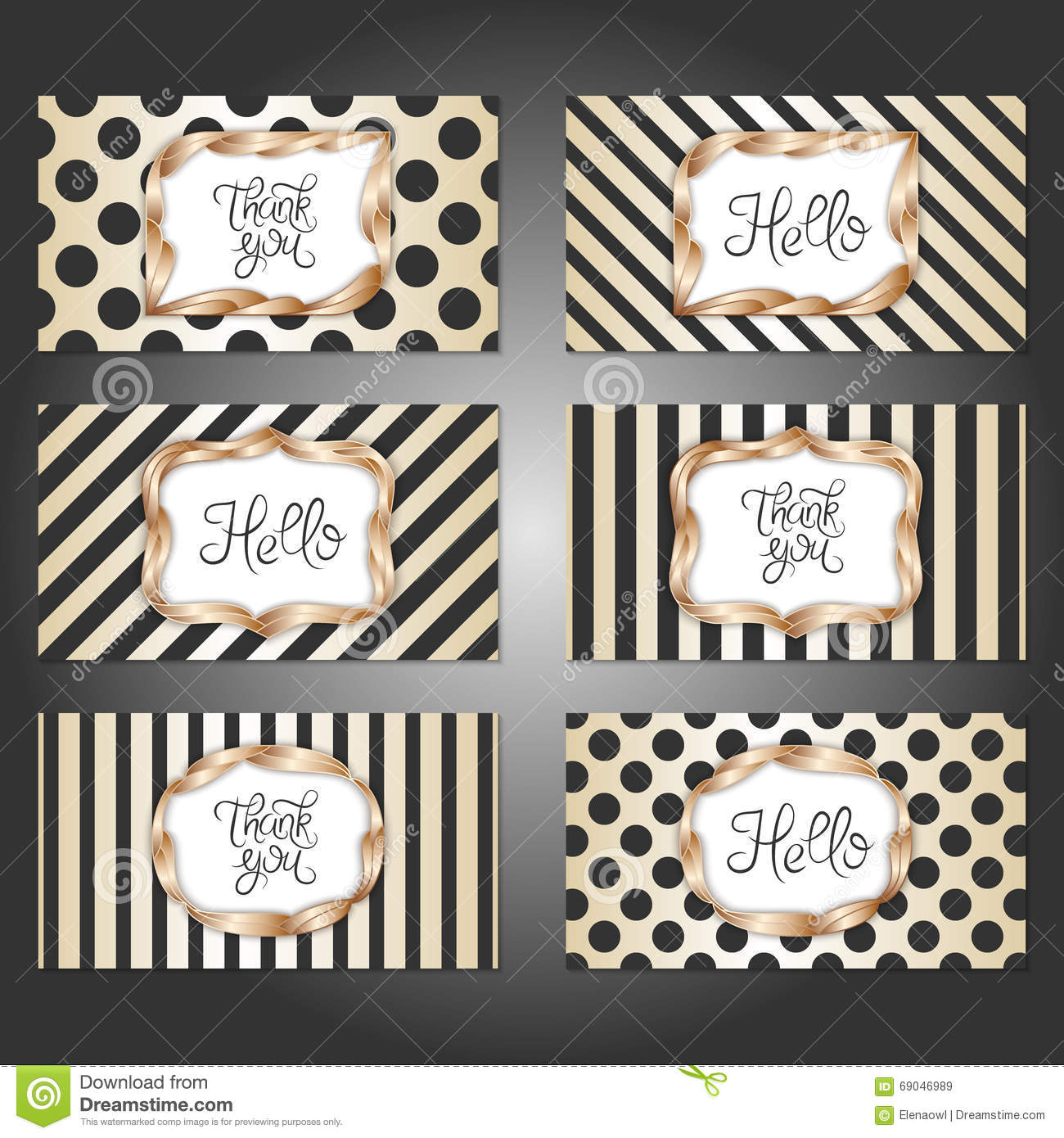 Set Of 6 Vintage Card Templates In Gold, Black And White Colors ...