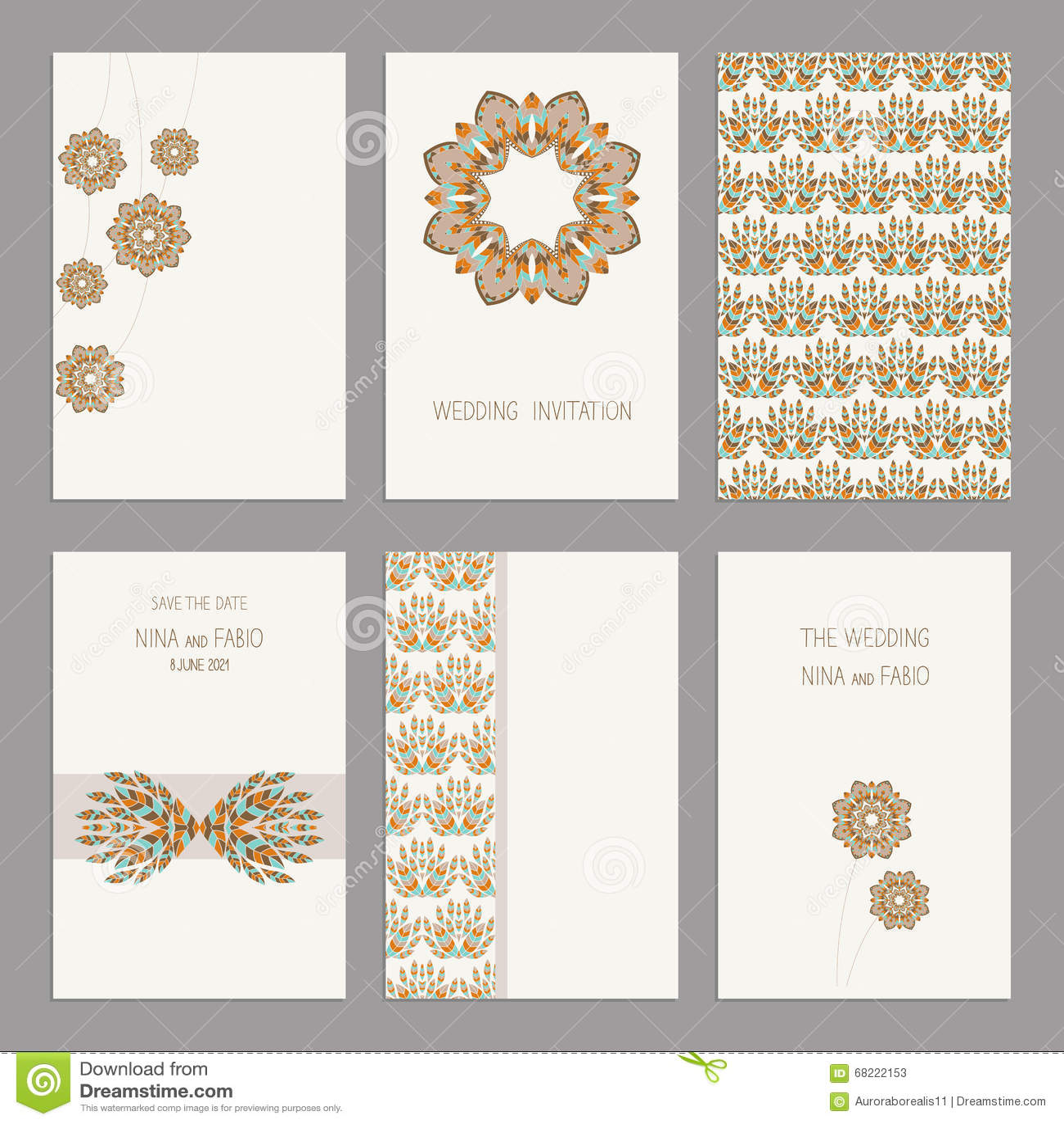Set Of Vintage Cards Templates Editable. Stock Vector - Illustration ...