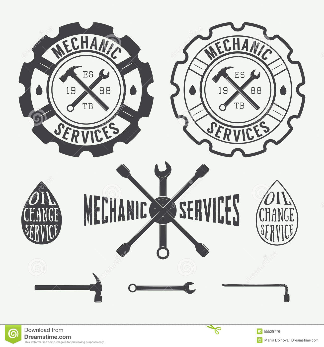 3d Logo Mechanic With Wrench And Tyre Stock Illustration
