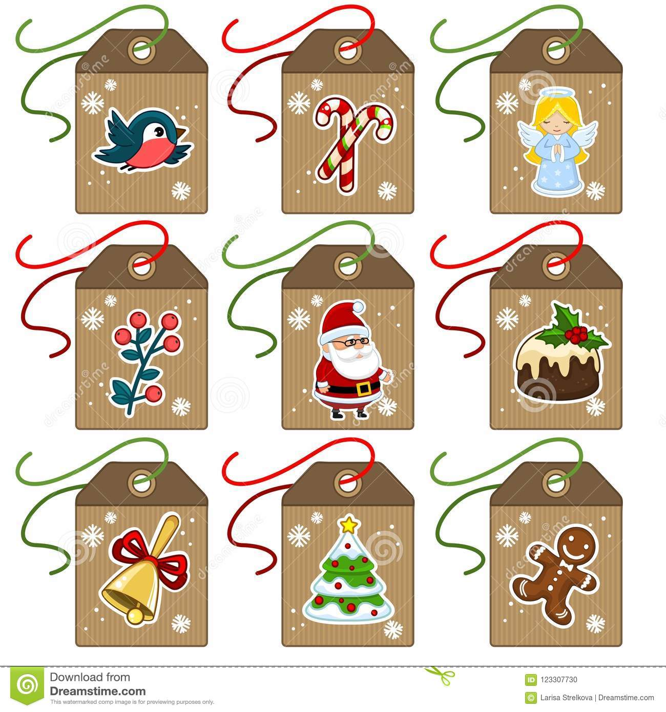 Vintage Christmas Illustrations.A Set Of Vintage Christmas Tags With New Year Objects Stock