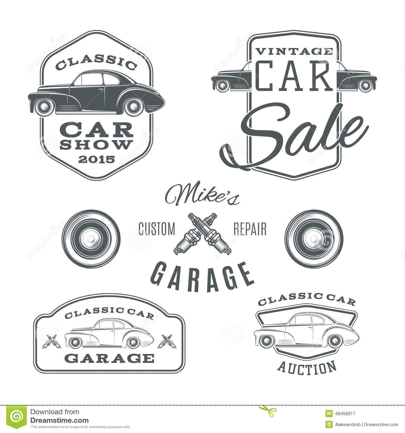 Stock Illustration Set Vintage Classic Car Services Labels Isolated White Background Logos Vector Illustration Image49456817 on sports car illustration