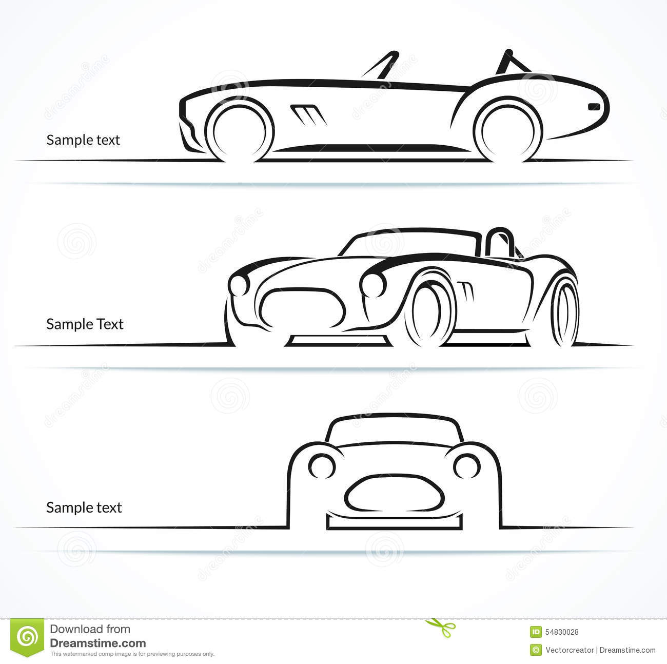 Set Of Vintage Classic Sports Car Silhouettes Stock Vector  Image