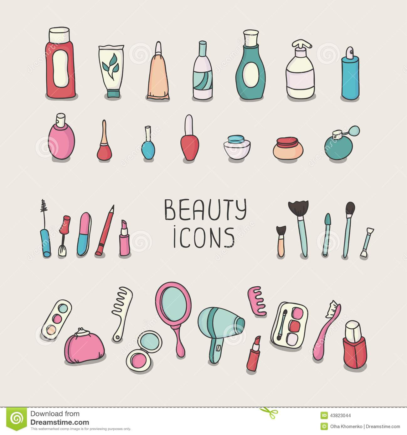 Girly Bathroom Ideas Set Of Vintage Cosmetics Elements And Beauty Stock Vector