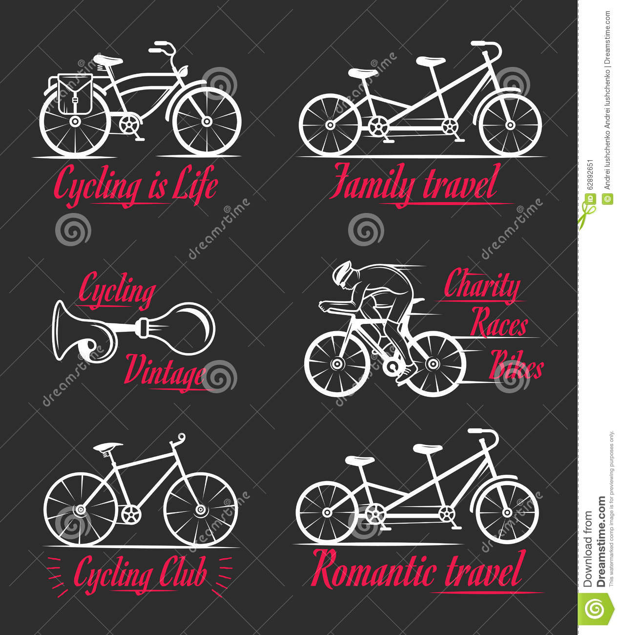 Set Vintage Cycling And Bicycle Sign And Badges Stock Illustration
