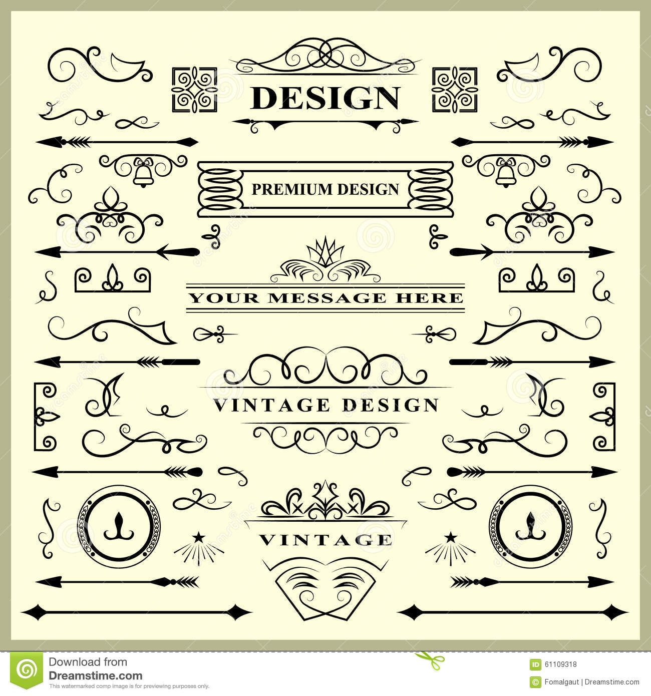 Set of Vintage Decorations Elements. Flourishes Calligraphic Ornaments and Frames. Retro Style Design Collection for Invitations,