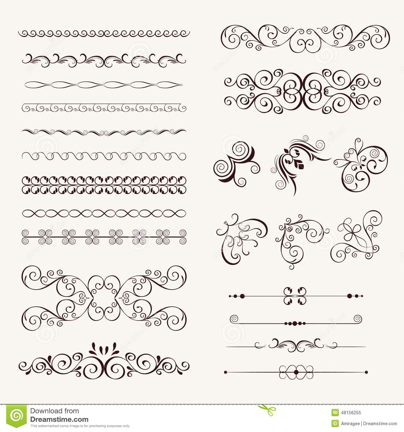 Set Vintage Decorative Frames, Stock Vector - Illustration of ...