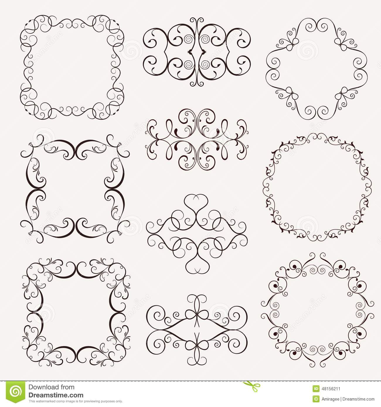 set of vintage decorative frames stock vector image. Black Bedroom Furniture Sets. Home Design Ideas