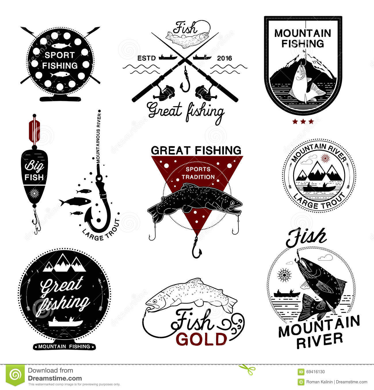 Set of vintage fishing logo labels emblems and designed for Fishing times free