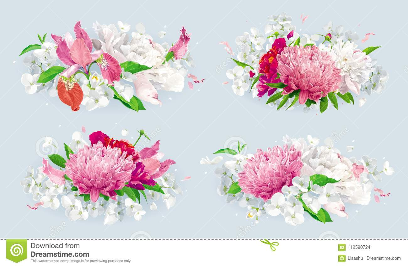 Red Pink Summer Flowers Bouquet Set Stock Vector Illustration Of