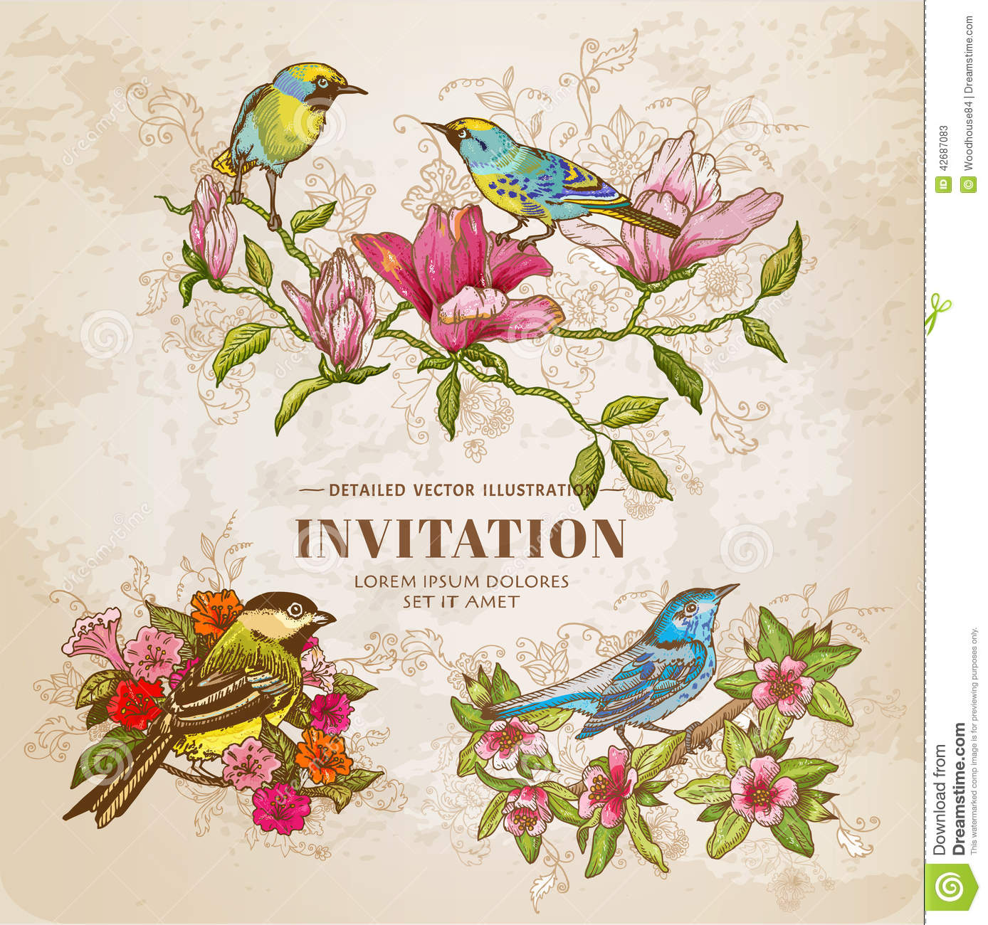 Set of Vintage Flowers and Birds