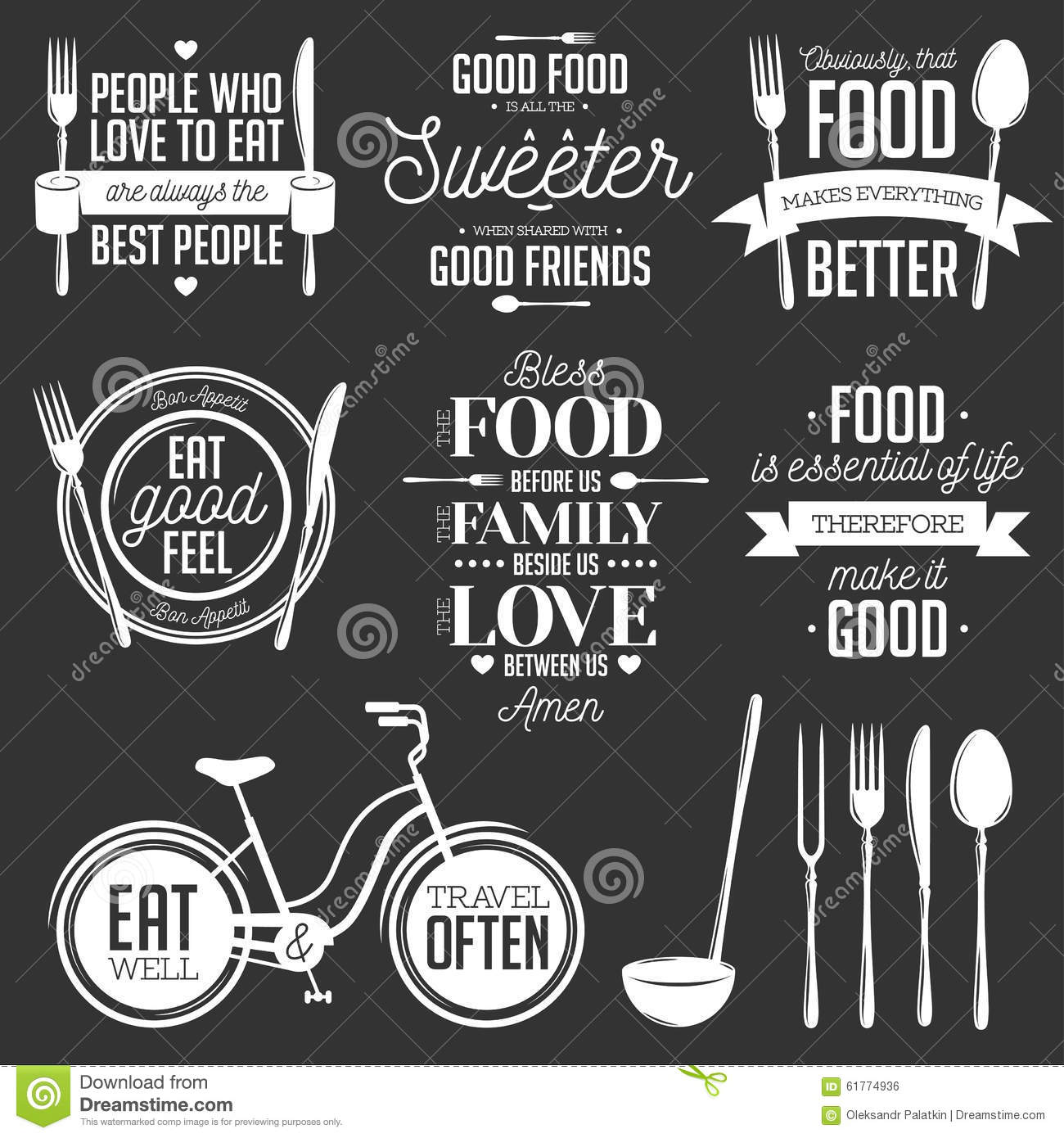 Set Of Vintage Food Related Typographic Quotes Stock