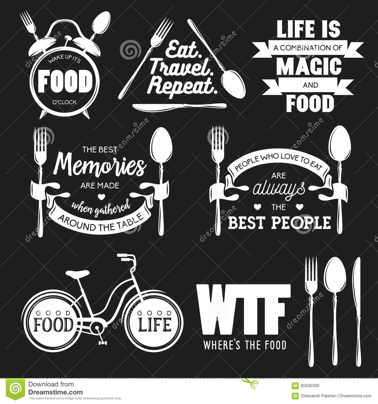 Kitchen Remodel Quotes: Set Of Vintage Food Related Typographic Quotes. Vector