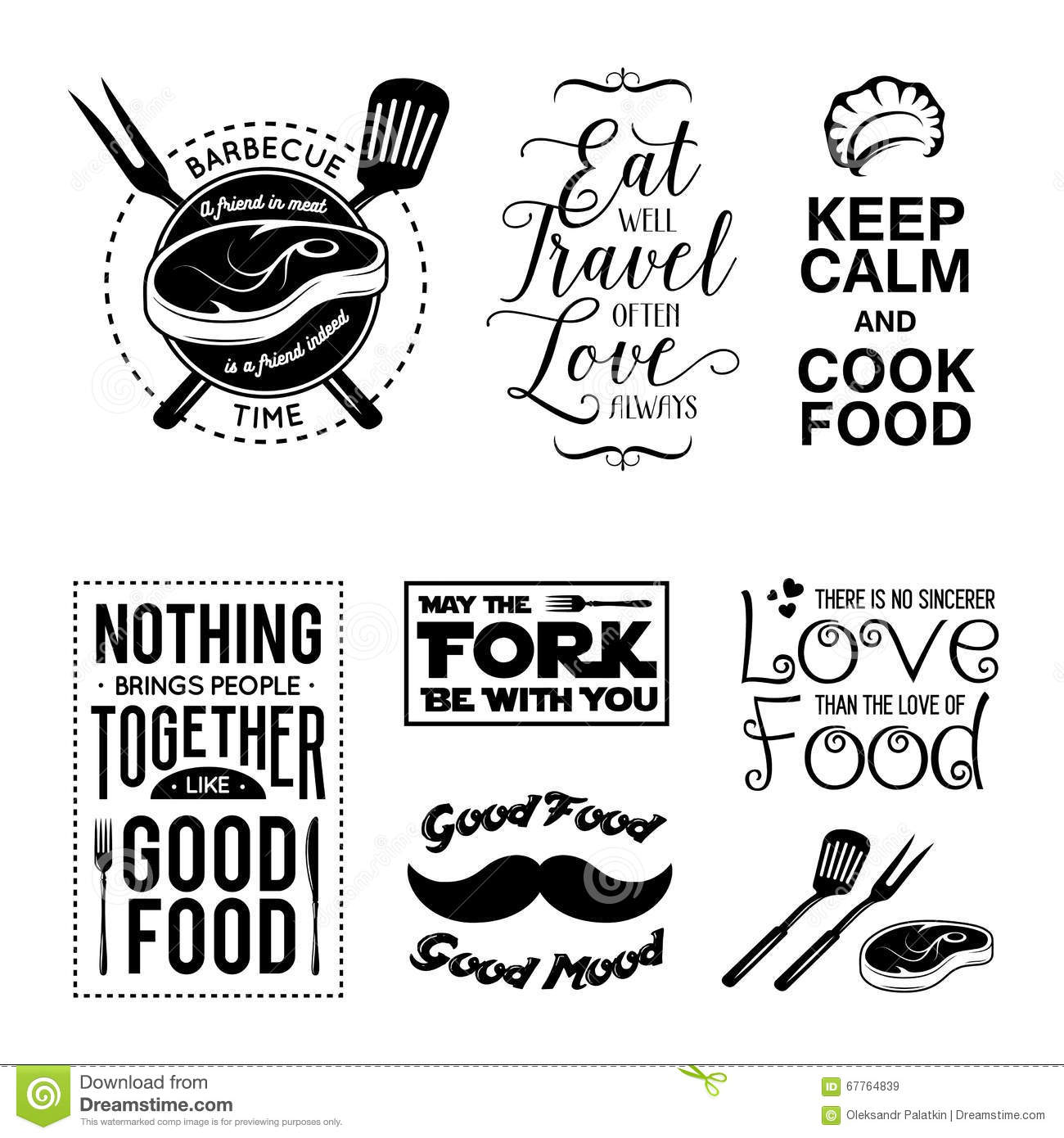 Food Related Typographic Quote Cartoon Vector