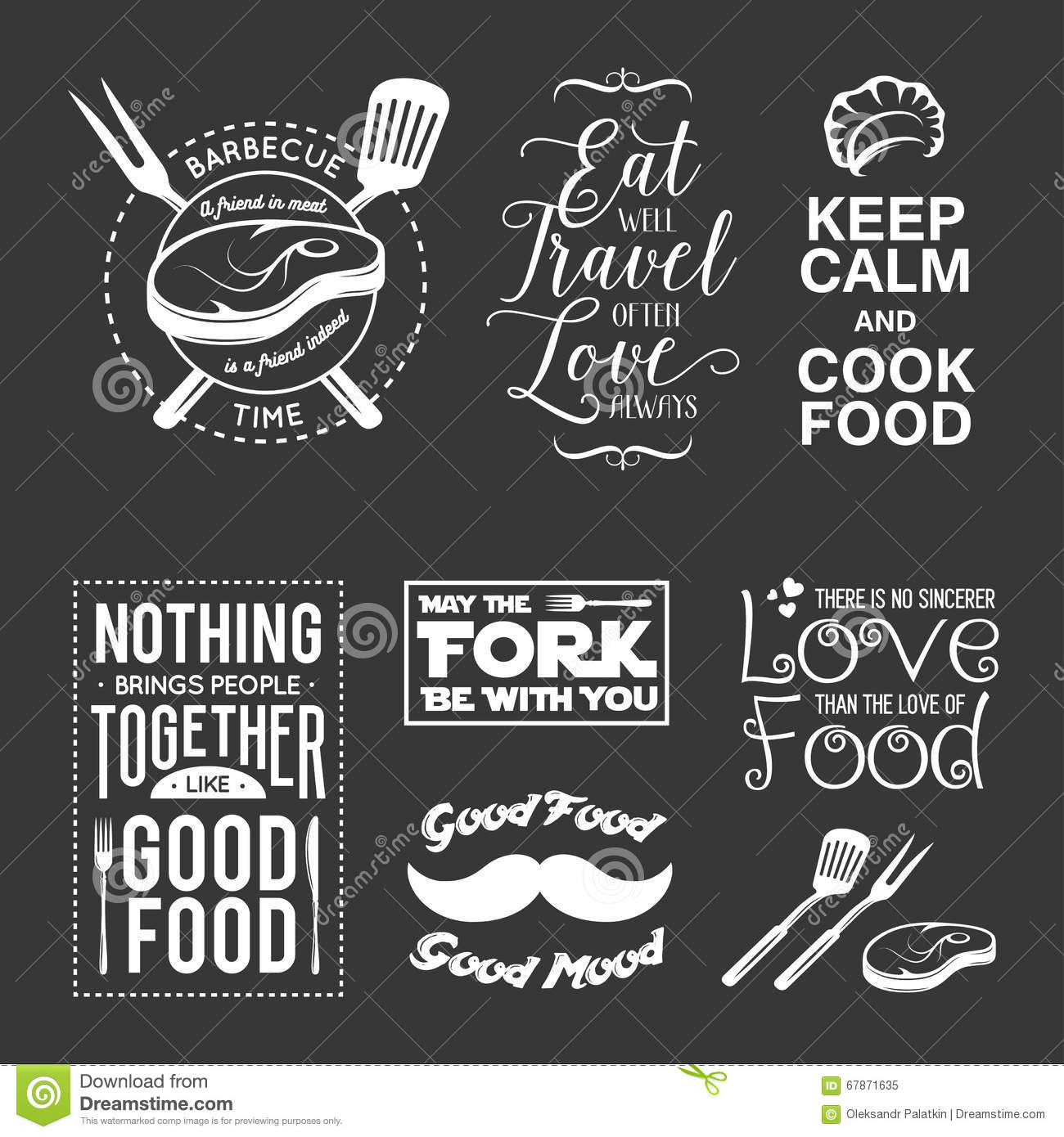 Typographic Book Cover Vector : Set of vintage food related typographic quotes vector