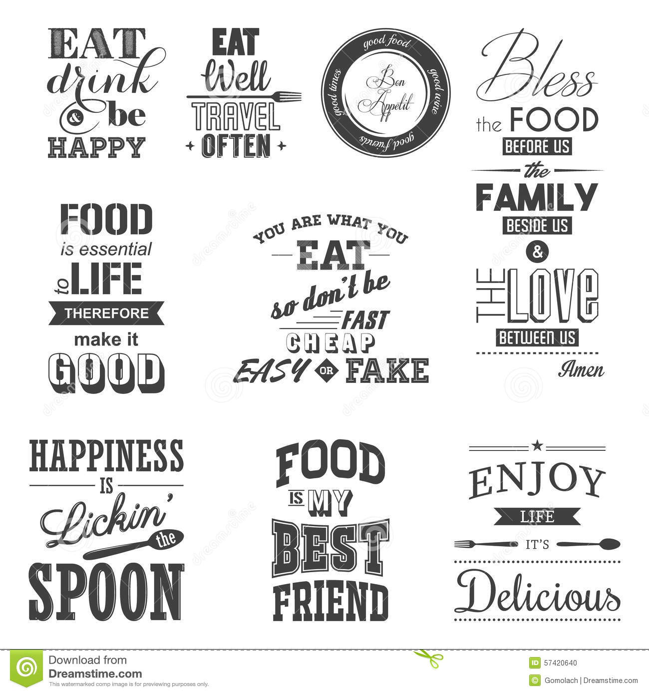 Set Of Vintage Food Typographic Quotes Stock Vector Illustration