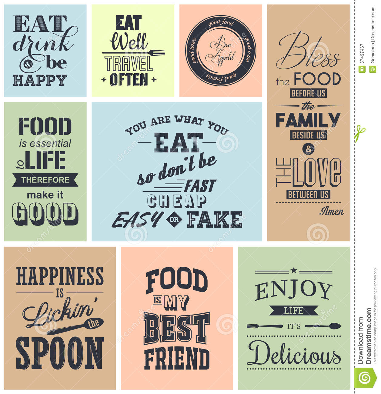 Set Of Vintage Food Typographic Quotes Illustration 57437467 Megapixl