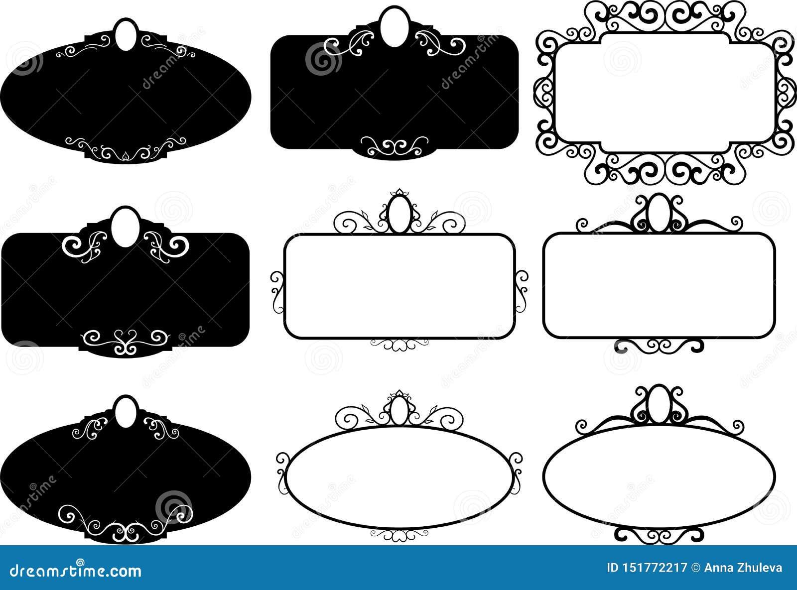 Set vintage frames, design elements. Sketch hand drawn. Decorative border