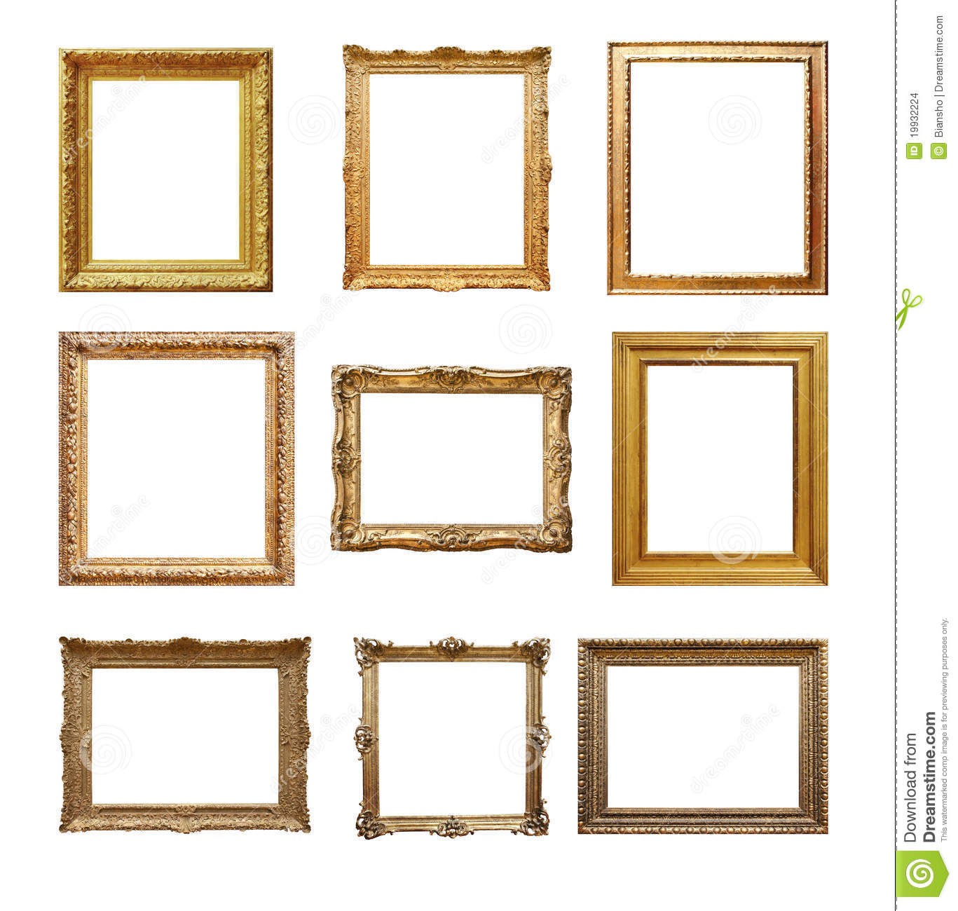 Set Of Vintage Frames Isolated On White Stock Photo - Image of ...