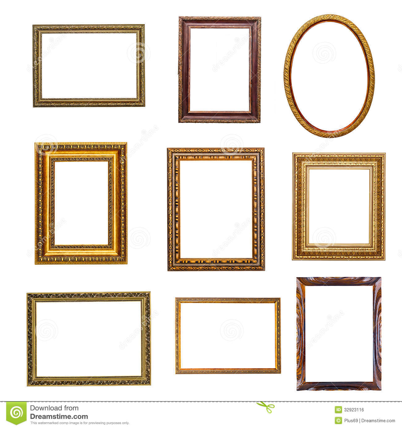 Set of vintage frames in retro style stock photo image for Small vintage style picture frames