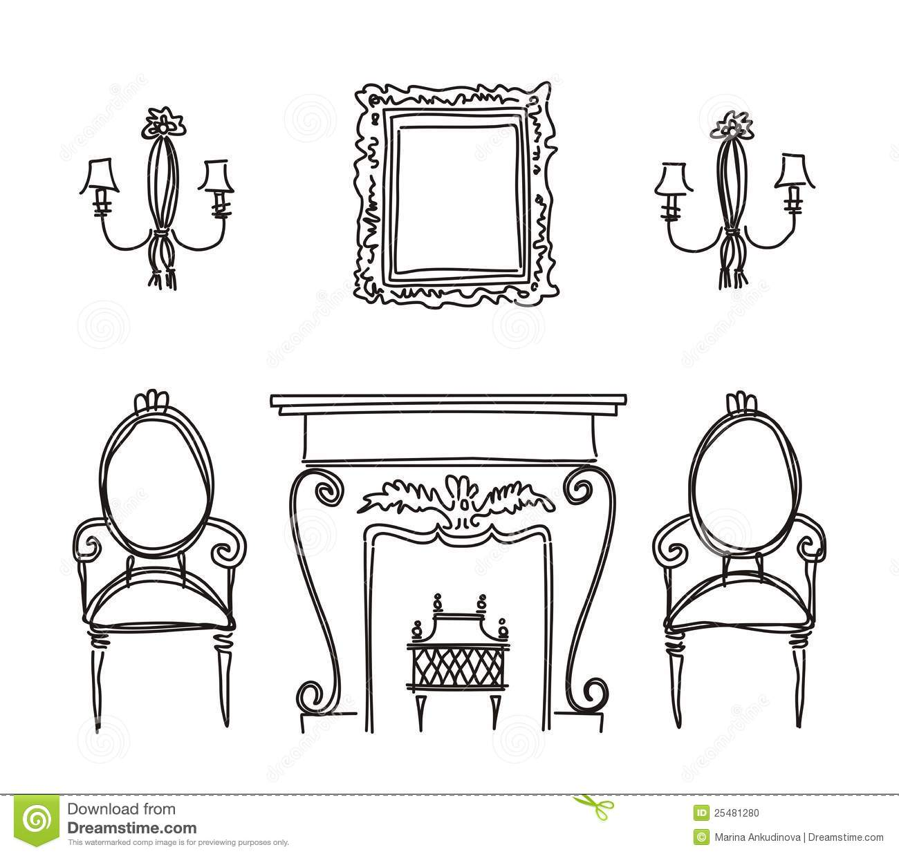 Set Of Vintage Furniture Silhouettes Stock Vector Image