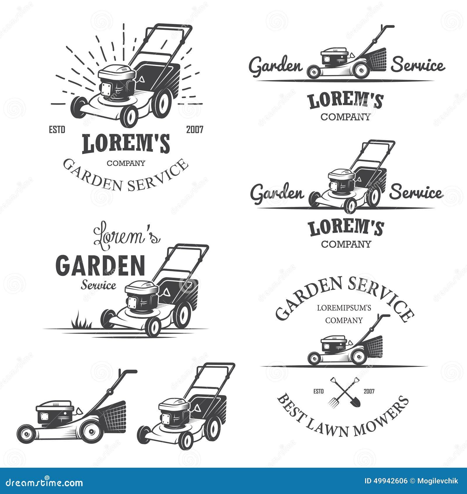 Stock Illustration Set Vintage Garden Service Emblems Labels Badges Logos Designed Elements Monochrome Style Image49942606