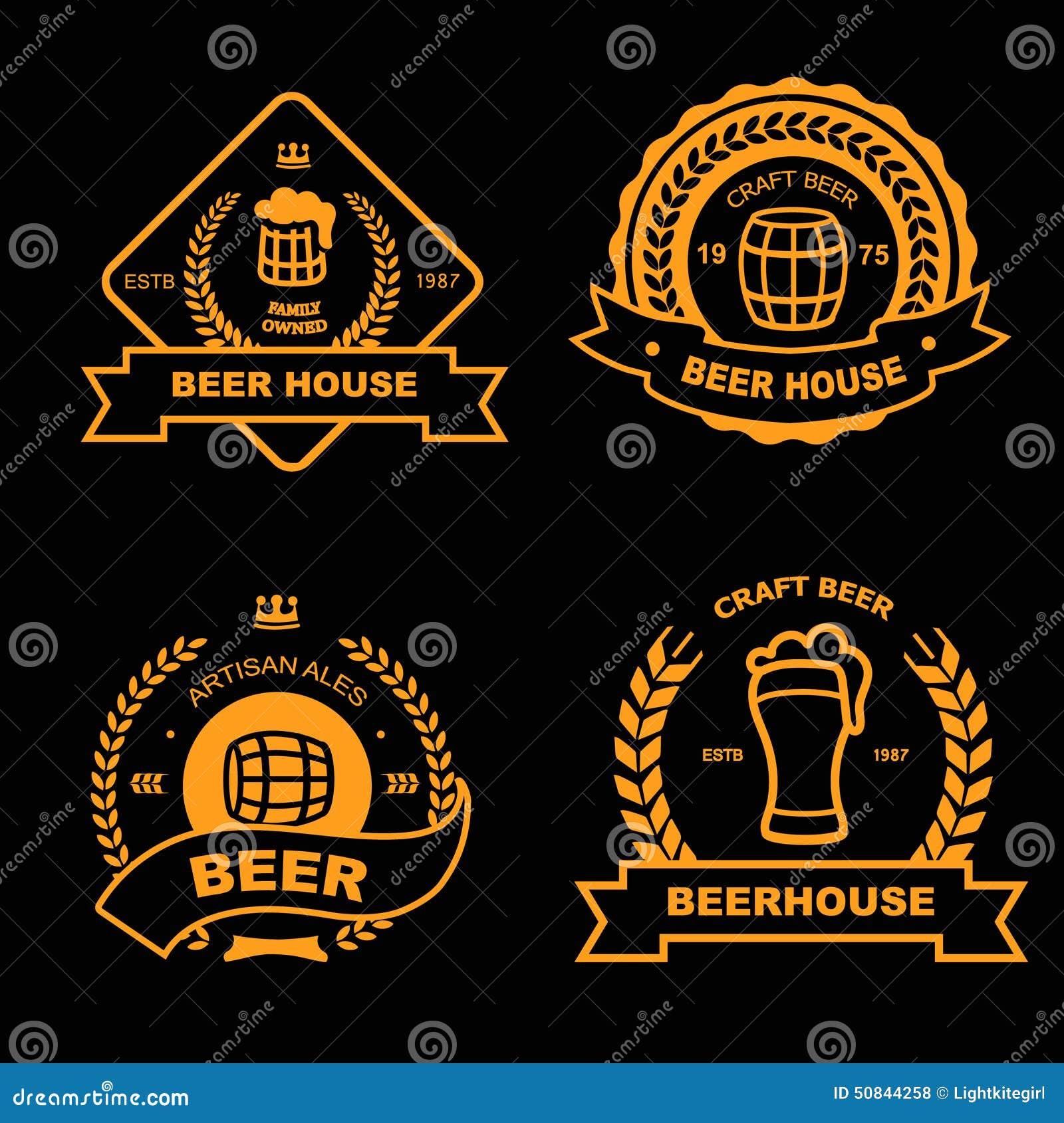 Set of vintage gold badge, logo templates and design elements for beer ...