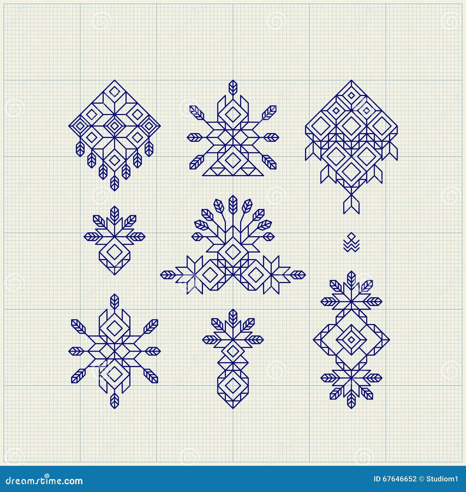 Graphic Line Design Art : Set of vintage graphic elements for design line art