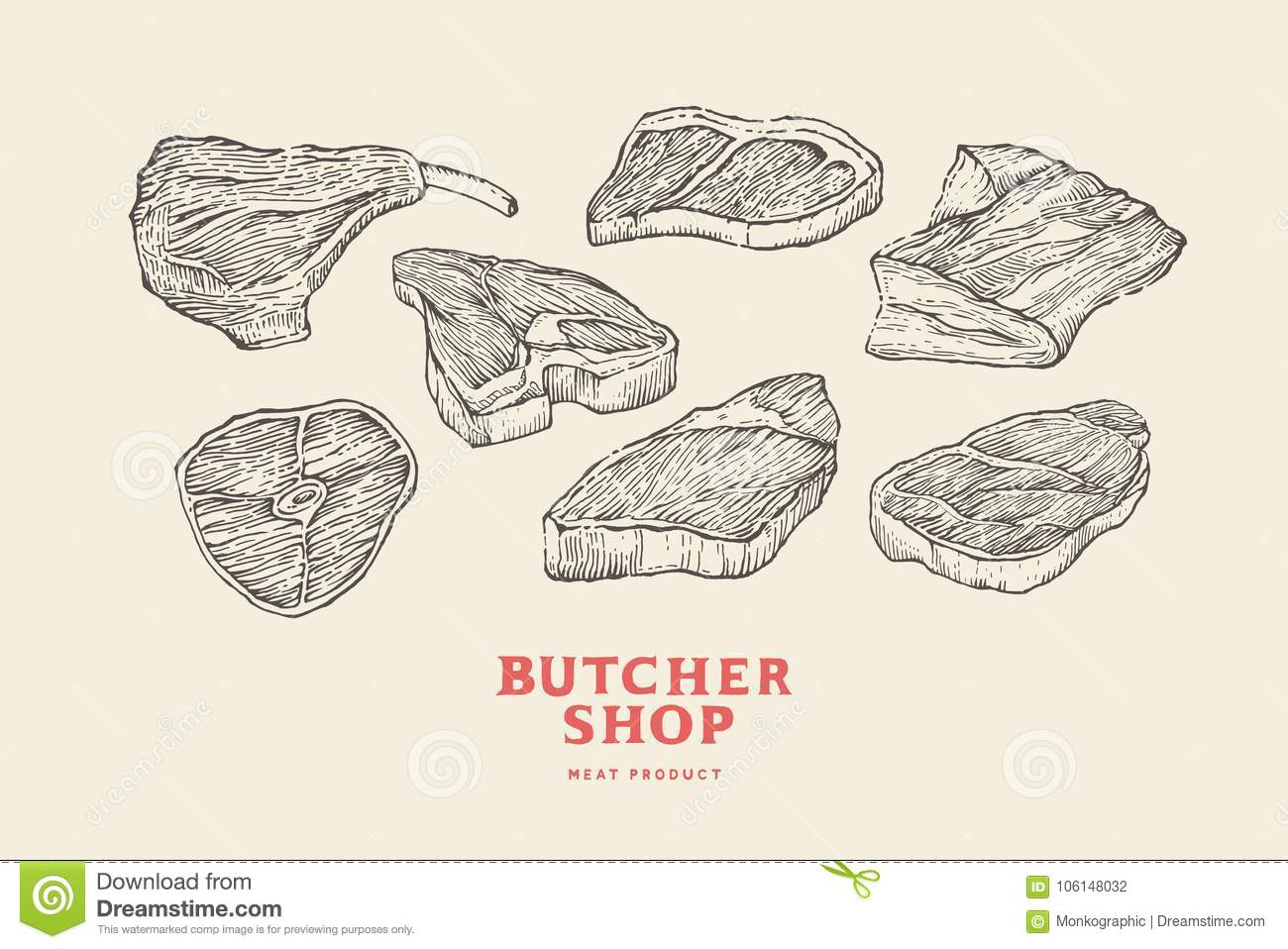 Set vintage hand-drawn different cuts of meats. Engraving pictures for concept of farmer`s market and shop.