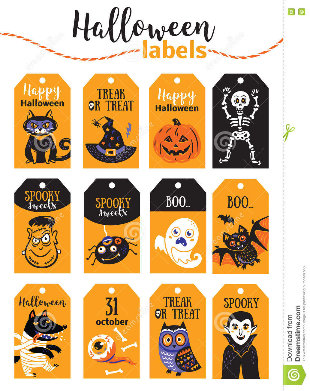 photograph about Happy Halloween Cards Printable referred to as Preset Of Classic Delighted Halloween Badges And Labels. Cartoon