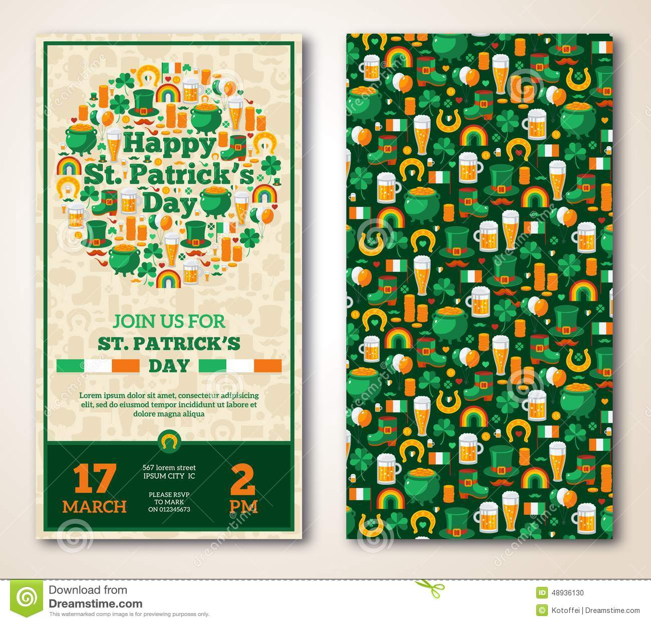 Set Of Vintage Happy St Patricks Day Greeting Stock Vector