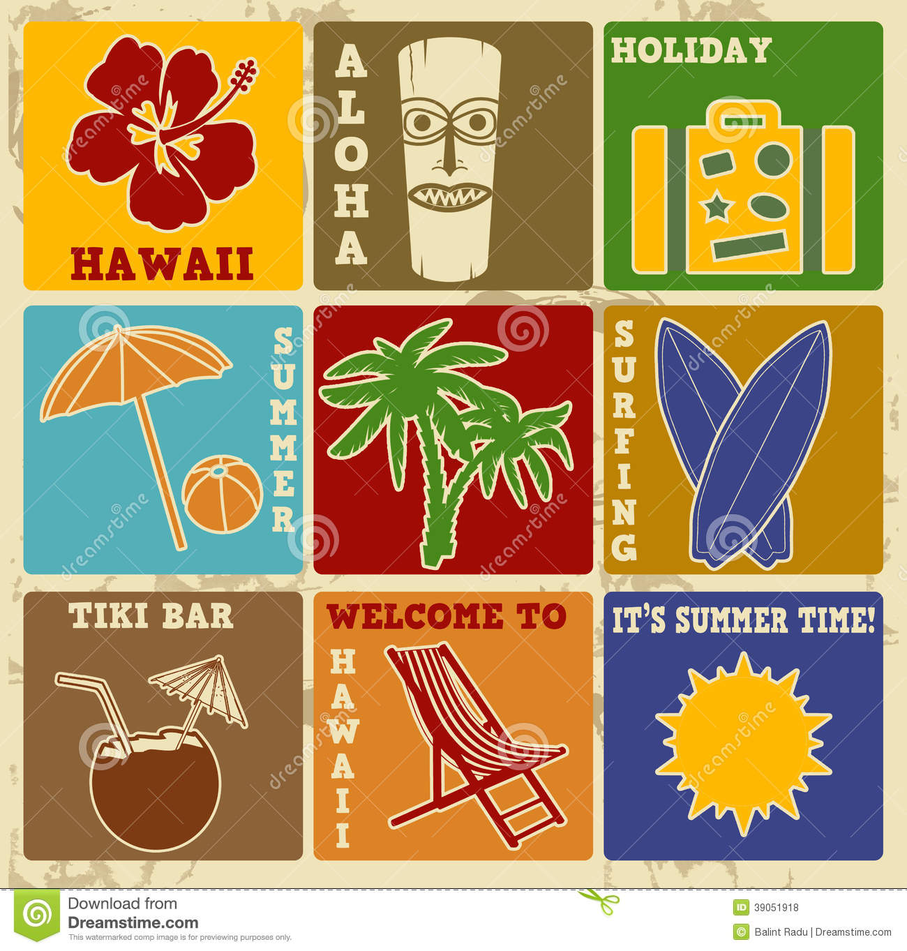 Retro Beach Illustration Royalty Free Stock Photo: Set Of Vintage Hawaii Labels Or Posters Stock Vector