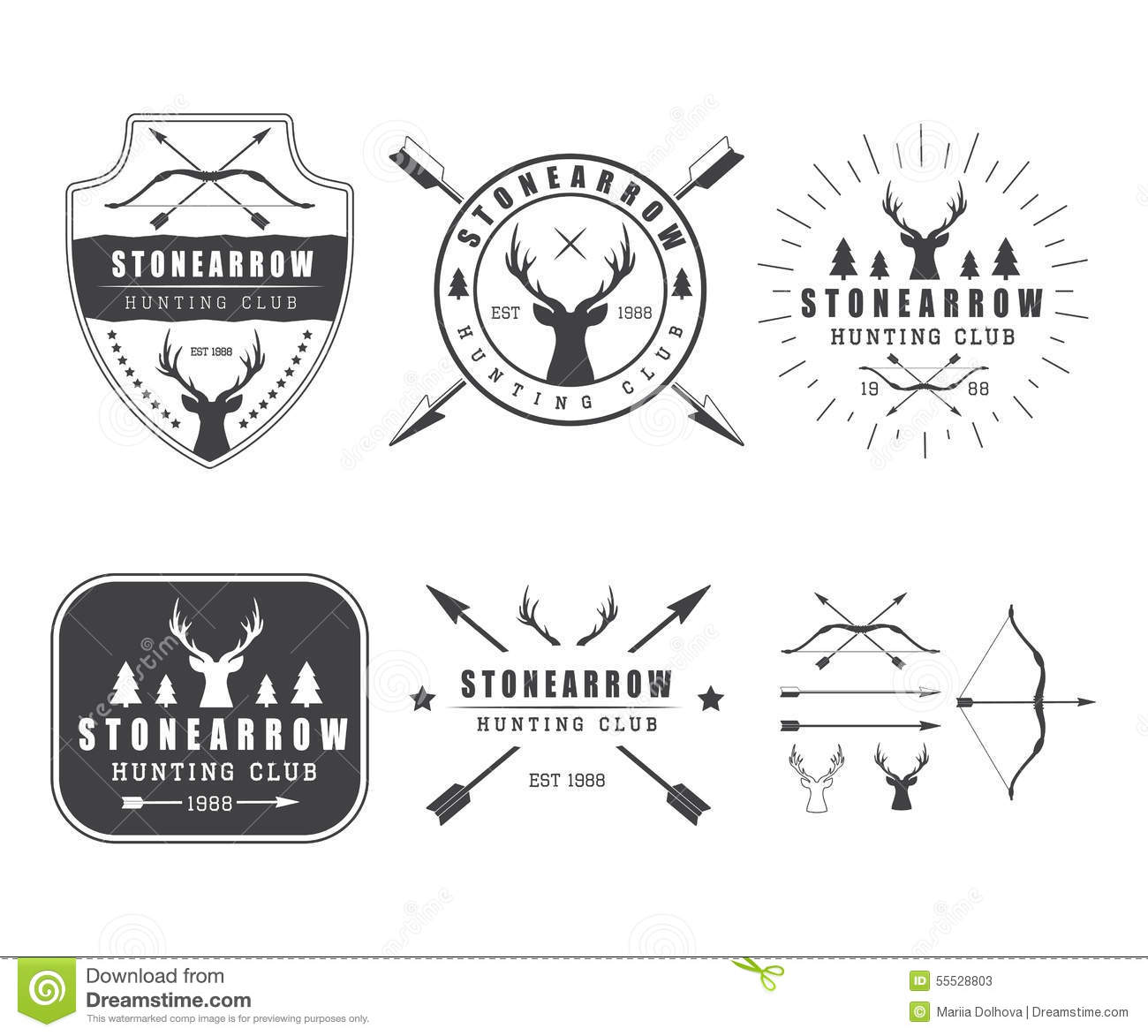 set of vintage hunting labels  logo  badge and design elements stock vector