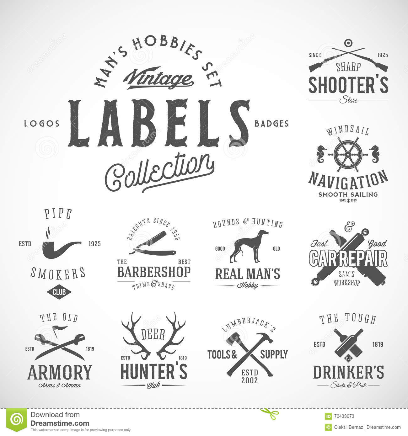 Set Of Vintage Icons, Labels Or Logo Templates With Retro ...